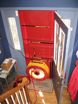 Blower door test for Wallkill homes